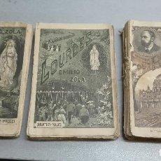 Libros antiguos: LOURDES - ROMA / EMILIO ZOLA / 3 TOMOS / LIBRERÍA EDITORIAL DE M. MAUCCI 1896. Lote 111232651