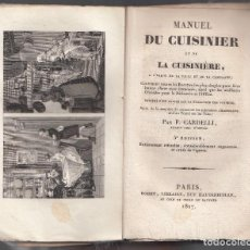 Libros antiguos: CARDELLI. MANUEL DU CUISINIER ET CUISINIERE, A L´USAGE DE LA VILLE ET DE LA CAMPAGNE. PARIS, 1827. Lote 111398695