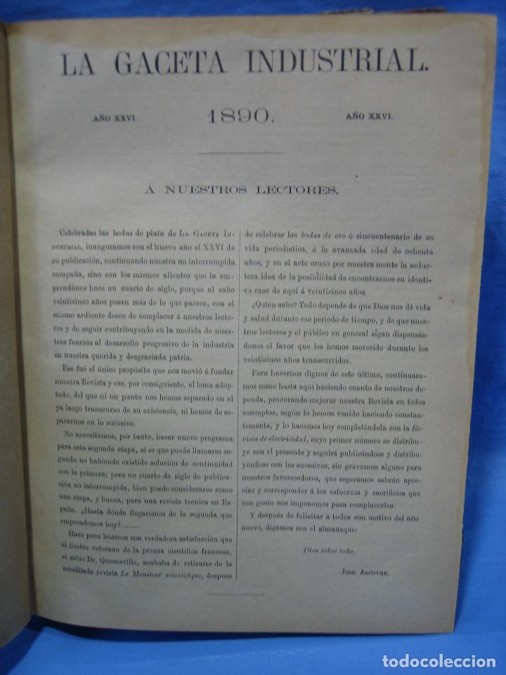 Libros antiguos: La gaceta industrial. Económica y científica 1890. Revista de electricidad - Foto 16 - 111460379