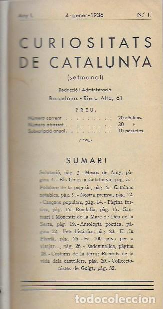 SETMANARI CURIOSITATS DE CATALUNYA VOLUM 1 DE L'1 AL 26. 22X12 CM. [806] PÀG. + ÍNDEXS SEMESTRE (Libros Antiguos, Raros y Curiosos - Historia - Otros)
