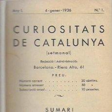 Libros antiguos: SETMANARI CURIOSITATS DE CATALUNYA VOLUM 1 DE L'1 AL 26. 22X12 CM. [806] PÀG. + ÍNDEXS SEMESTRE. Lote 111495811