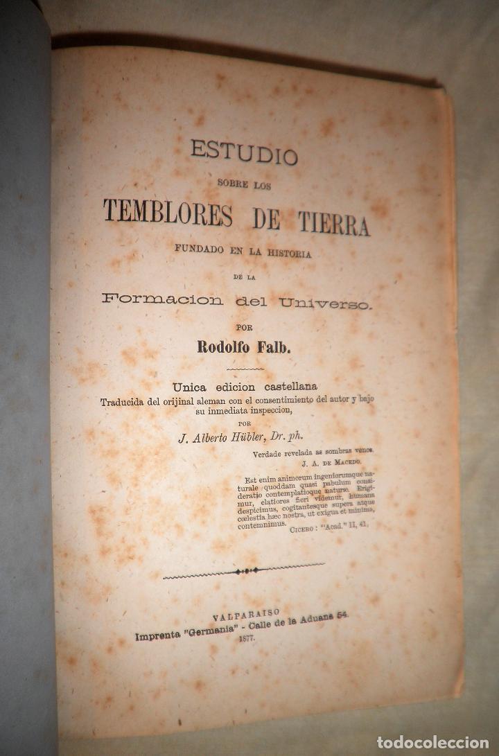 Libros antiguos: ESTUDIO SOBRE LOS TEMBLORES DE LA TIERRA - R.FALB - VALPARAISO AÑO 1877 - ILUSTRADO·MUY RARO. - Foto 3 - 111629379