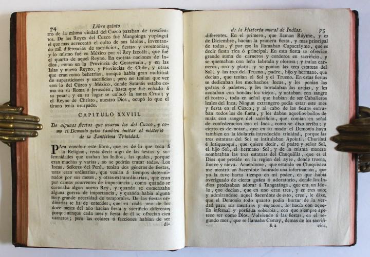 Libros antiguos: HISTORIA NATURAL Y MORAL DE LAS INDIAS, en que se tratan las cosas notables del cielo, elementos, me - Foto 4 - 109022298