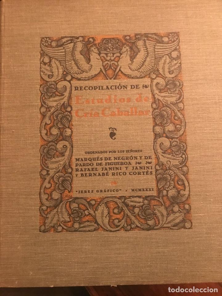 RECOPILACIÓN DE ESTUDIOS DE CRÍA CABALLAR POR EL MARQUÉS DE NEGRÓN Y EQUITACION HIPICA CABALLOS (Libros Antiguos, Raros y Curiosos - Bellas artes, ocio y coleccionismo - Otros)