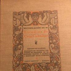 Libros antiguos: RECOPILACIÓN DE ESTUDIOS DE CRÍA CABALLAR POR EL MARQUÉS DE NEGRÓN Y EQUITACION HIPICA CABALLOS. Lote 112132702