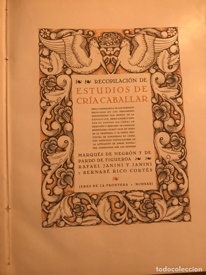 Libros antiguos: Recopilación de estudios de cría caballar por el marqués de Negrón y equitacion hipica caballos - Foto 2 - 112132702