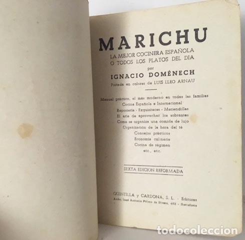 Libros antiguos: Domenech : Marichu, la mejor cocinera española o Todos los platos del día. (circa 1920). - Foto 2 - 112185667
