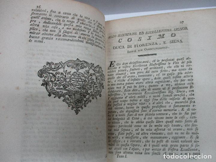 Libros antiguos: VITE DE PIU ECCELLENTI PITTORI SCULTORI ED ARCHITETTI. - VASARI, Giorgio. 1770-1772. 7 VOLS. - Foto 4 - 109021730