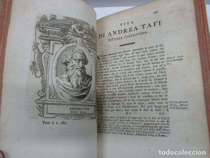 Libros antiguos: VITE DE PIU ECCELLENTI PITTORI SCULTORI ED ARCHITETTI. - VASARI, Giorgio. 1770-1772. 7 VOLS. - Foto 6 - 109021730