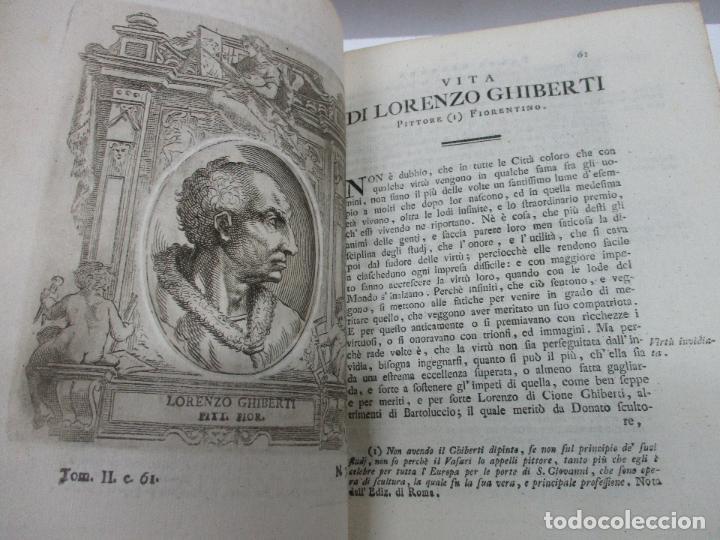 Libros antiguos: VITE DE PIU ECCELLENTI PITTORI SCULTORI ED ARCHITETTI. - VASARI, Giorgio. 1770-1772. 7 VOLS. - Foto 8 - 109021730