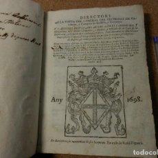 Libros antiguos: 1698, DIRECTORI DE VISITA DEL GENERAL DEL PRINCIPAT DE CATALUNYA, Y COMPTATS DE ROFLELLO Y CERDENYA. Lote 112840535