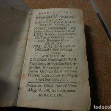 Libros antiguos: 1754, REGULA CLERI, ORIHUELA, PAPEL PERGAMINO. Lote 112841011