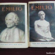 Libros antiguos: J.J. ROUSSEAU. EMILIO 2 TOMOS. CASA EDITORIAL MAUCCI. 1914.. Lote 113156255