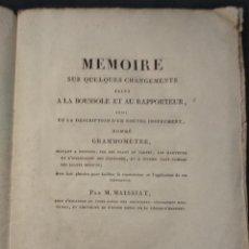 Libros antiguos: MAISSIAT MEMOIRE SUR QUELQUES CHANGEMENTS FAITS A LA BOUSSOLE ET AU RAPPORTEUR (GRAMMOMETRE) 1818. Lote 113203283