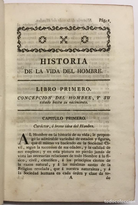 Libros antiguos: HISTORIA DE LA VIDA DEL HOMBRE. - HERVÁS Y PANDURO, Lorenzo. [Libro prohibido.] - Foto 3 - 109023535