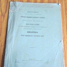 Libros antiguos: RESUMEN DE LAS ACTAS Y TAREAS DE LA COMISIÓN DE MONUMENTOS HISTÓRICOS Y ARTÍSTICOS BURGOS 1871. Lote 113283875