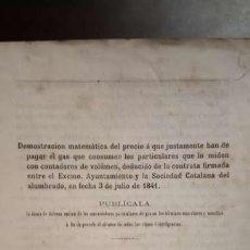 Libros antiguos: SOCIEDAD CATALANA DEL ALUMBRADO . 1844 .. Lote 113402951
