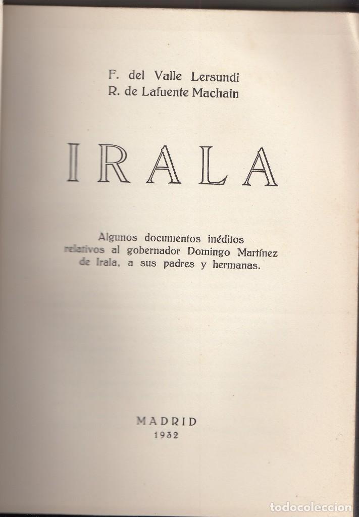 VALLE LERSUNDI Y LAFUENTE MACHAIN: IRALA. MADRID, 1932. PAÍS VASCO. VERGARA. PARAGUAY (Libros Antiguos, Raros y Curiosos - Historia - Otros)