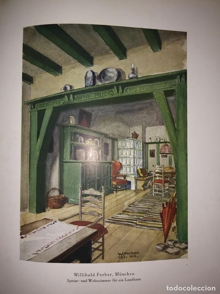 Libros antiguos: Decoración de castillos y casas alemanas. 100 láminas a color. Farbige Raumkunst - Foto 7 - 113529067