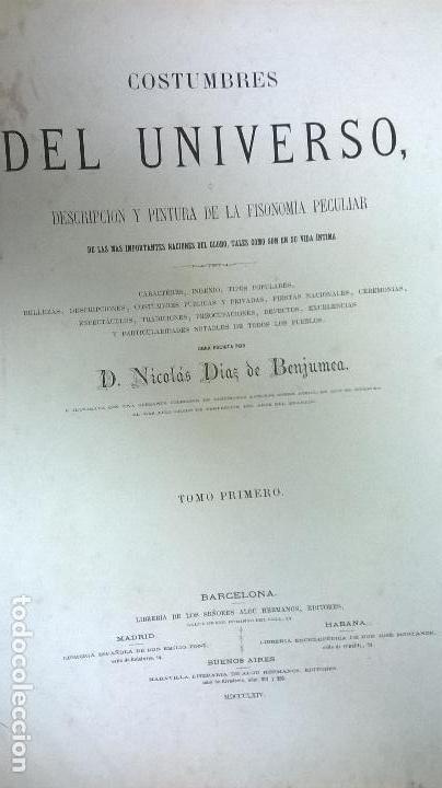 Libros antiguos: Libro.Costumbres del universo.Contiene 18 grabados al acero.Medida 28x38.Año 1864.423 pg - Foto 12 - 113724443