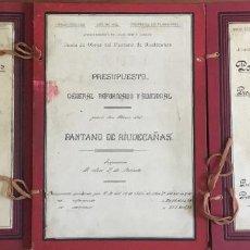 Libros antiguos: [PANTANO DE RIUDECAÑAS. DOCUMENTACIÓN.] - JUNTA DE OBRAS DEL PANTANO DE RIUDECAÑAS. 1912-1914.. Lote 109022022