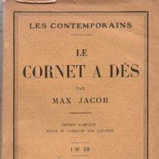 Libros antiguos: MAX JACOB, LE CORNET A DÉS. CHEZ DELAMAIN, BOUTELLEAU ET CIE, LIBRAIRIE STOCK DE 1923.. Lote 125242758