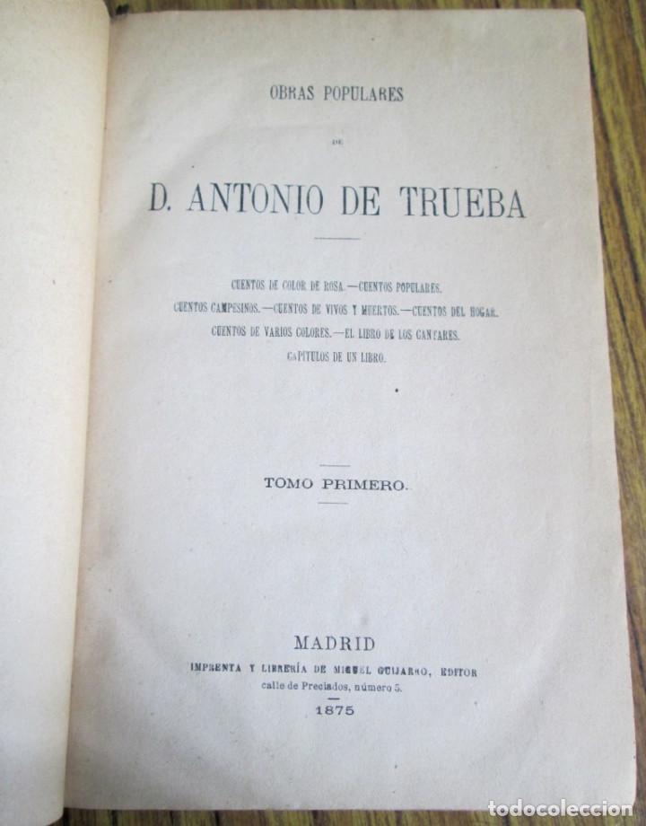 Libros antiguos: Obras populares ANTONIO DE TRUEBA // Edit. Miguel Guijarro – Madrid 1875 // Con grabados - Foto 5 - 113966611