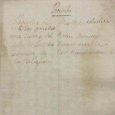 Libros antiguos: [PAPELES DE LA ORDEN DE MALTA RELATIVOS A LAS PRUEBAS DE ADMISION.] - [MANUSCRITOS.]. Lote 114155195