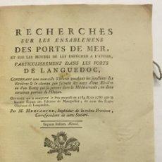 Libros antiguos: RECHERCHES SUR LES ENSABLEMENTS DES PORTS DE MER, ET SUR LES MOYENS DE LES EMPÉCHER A L'AVENIR, PART. Lote 114154844