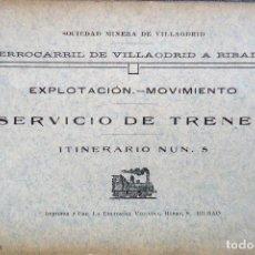 Libros antiguos: GALICIA.LUGO. FERROCARRIL DE VILLAODRID A RIBADEO. SERVICIO DE TRENES. ITINERARIO Nº 5. Lote 205786241