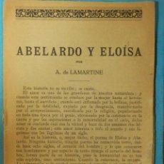 Libros antiguos: LIBRO - ABELARDO Y ELOISA - POR A. DE LAMARTINE - 24 PAGINAS. Lote 114594587
