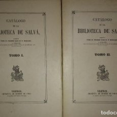 Libros antiguos: CATÁLOGO DE LA BIBLIOTECA DE SALVÁ. FASCIMIL DE LA DE VALENCIA, 1872. DOS VOLUMENES. 1963. INTONSO. Lote 114695823