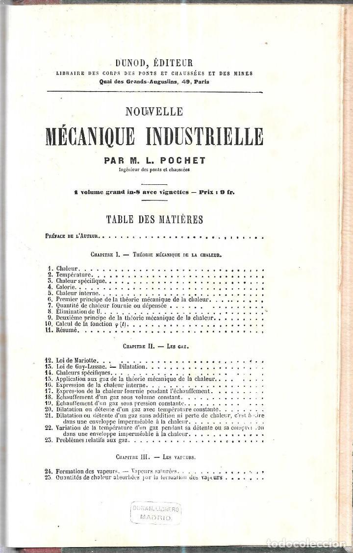 Libros antiguos: MANUEL L´INGENIEUR DES PONTS ET CHAUSSEES. MECANIQUE, MACHINES HYDRAULIQUES ET A VAPEUR. 1873. PARIS - Foto 3 - 114765059