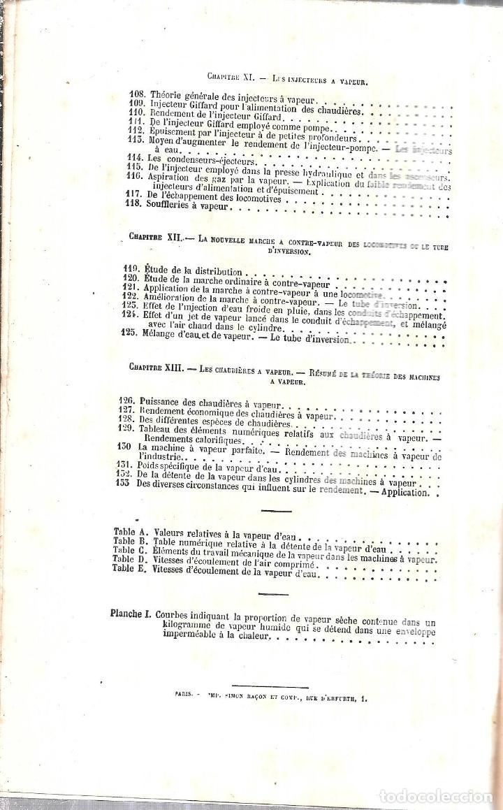 Libros antiguos: MANUEL L´INGENIEUR DES PONTS ET CHAUSSEES. MECANIQUE, MACHINES HYDRAULIQUES ET A VAPEUR. 1873. PARIS - Foto 5 - 114765059