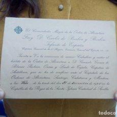 Livres anciens: TUBAL 1925 CARLOS DE BORBON Y BORBON ORDEN DE ALCANTARA INVITACION 18 CM. Lote 114882251