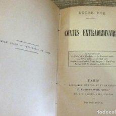 Libros antiguos: POE, EDGAR: CONTES EXTRAORDINAIRES. Lote 114914759