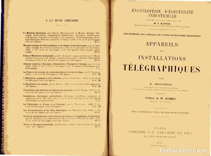Libros antiguos: APPAREILS ET INSTALLATIONS TELEGRAPHIQUES PAR E. MONTORIOL. . Bailliere et Fils,, Paris, 1921. - Foto 3 - 115044863