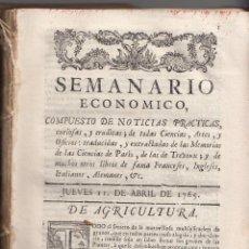 Libros antiguos: SEMANARIO ECONÓMICO. MADRID, 1765. SON LOS 38 PRIMEROS NÚMEROS. MUY INTERESANTES. Lote 115816559