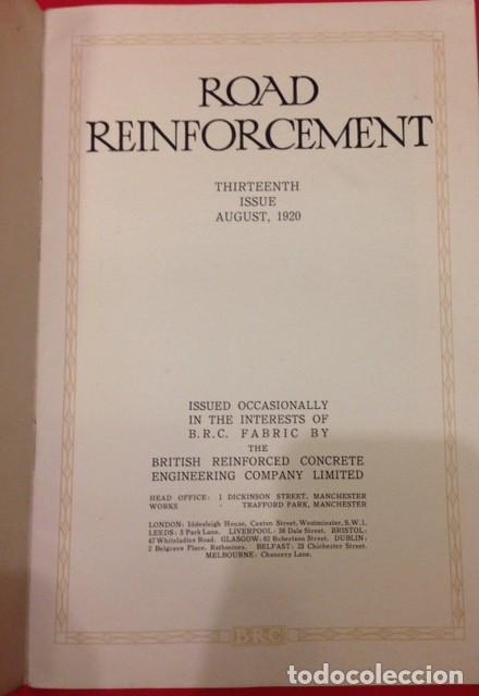 Libros antiguos: ROAD REINFORCEMENT, CARRETERAS 1920 - Foto 2 - 116105987