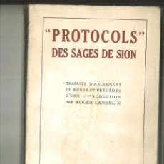 Libri antichi: PROTOCOLS DES SAGES DE SION. . Lote 116158859