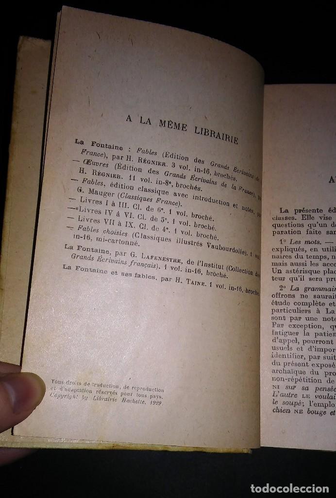 Libros antiguos: Antiguo libro la fontaine fables, r. radouant, librarie hachette 1929 en francés - Foto 3 - 116175951