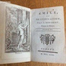 Libros antiguos: EMILE, OU DE L'ÉDUCATION TOME II J.J. ROUSSEAU MDCCXCII 1792. Lote 116489143