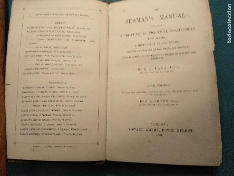 DANA, R.H. THE SEAMAN'S MANUAL. 1851. APAREJO Y MANIOBRA DE LOS VELEROS. (Libros Antiguos, Raros y Curiosos - Ciencias, Manuales y Oficios - Otros)