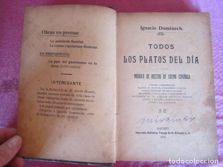 TODOS LOS PLATOS DEL DÍA. MOSAICO DE RECETAS DOMÉNECH 1912 RARO (Libros Antiguos, Raros y Curiosos - Cocina y Gastronomía)