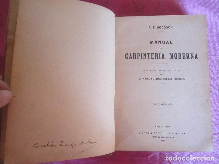 Libros antiguos: MANUAL DE CARPINTERÍA MODERNA - F.T. HODGSON 600 GRABADOS 1914 - Foto 10 - 116995827