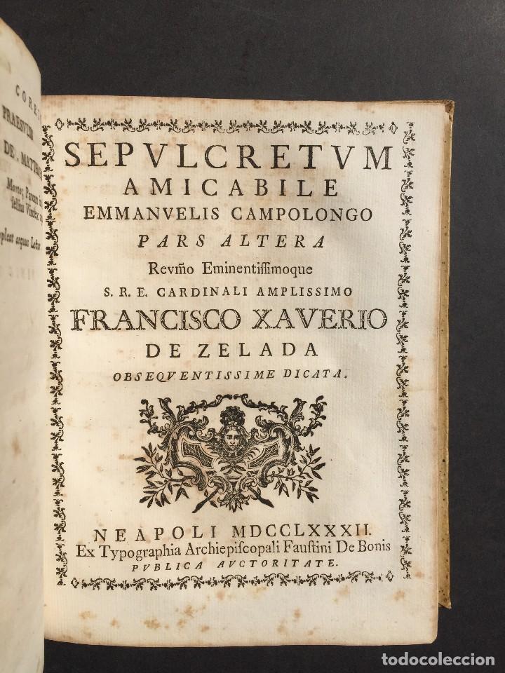 Libros antiguos: 1781 - Sepulcretum Amicabile - Rarisimo libro que contiene 1900 epitafios - Cementerio - Foto 2 - 117013087