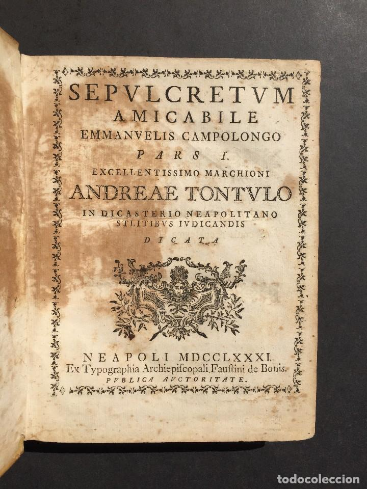 Libros antiguos: 1781 - Sepulcretum Amicabile - Rarisimo libro que contiene 1900 epitafios - Cementerio - Foto 11 - 117013087