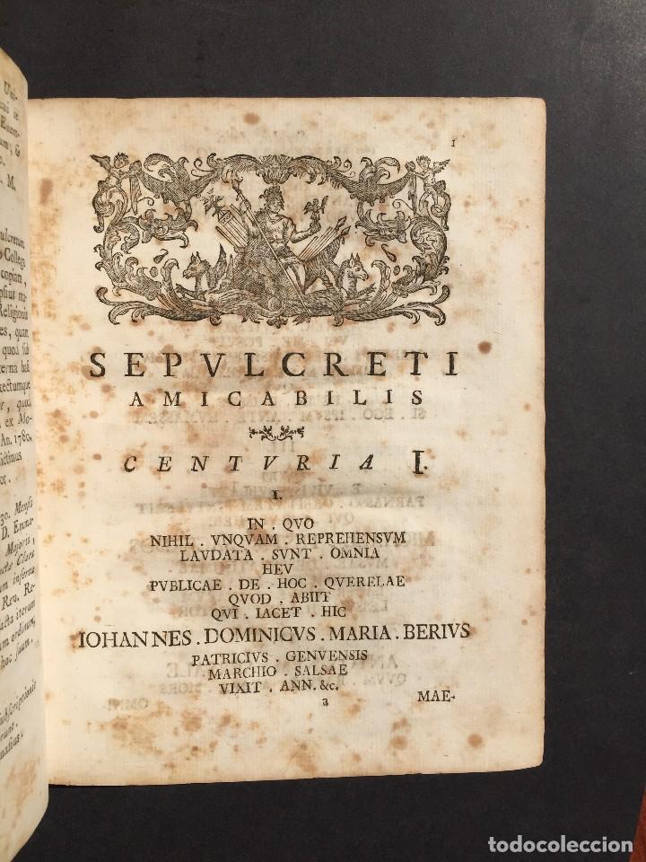 Libros antiguos: 1781 - Sepulcretum Amicabile - Rarisimo libro que contiene 1900 epitafios - Cementerio - Foto 15 - 117013087