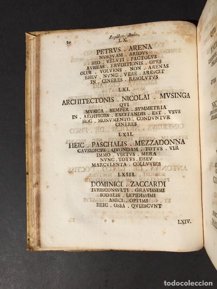 Libros antiguos: 1781 - Sepulcretum Amicabile - Rarisimo libro que contiene 1900 epitafios - Cementerio - Foto 16 - 117013087