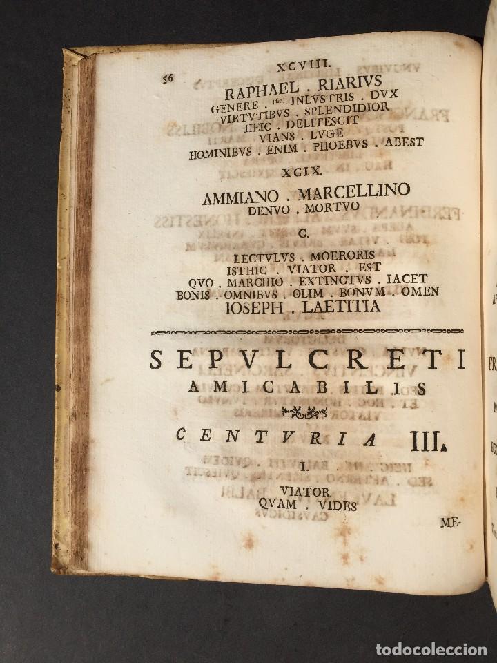 Libros antiguos: 1781 - Sepulcretum Amicabile - Rarisimo libro que contiene 1900 epitafios - Cementerio - Foto 18 - 117013087
